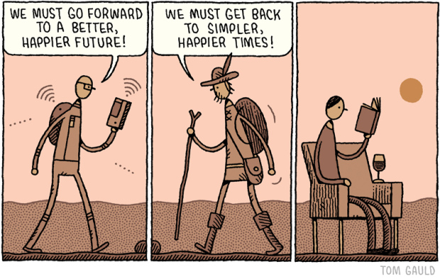 """We must go forward / We must get back"" by Tom Gauld, Sept. 15, 2014."