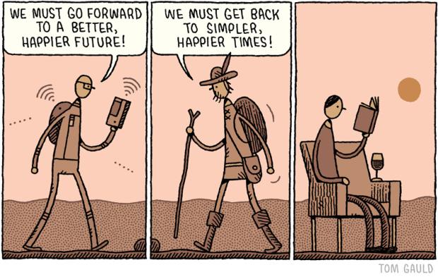 """""""We must go forward / We must get back"""" by Tom Gauld, Sept. 15, 2014."""