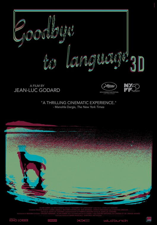 Poster for 'Goodbye to Language' by Jean-Luc Godard, designed by Erik K. Skodvin for Kino Lorber. Image retrieved from IMP Awards.