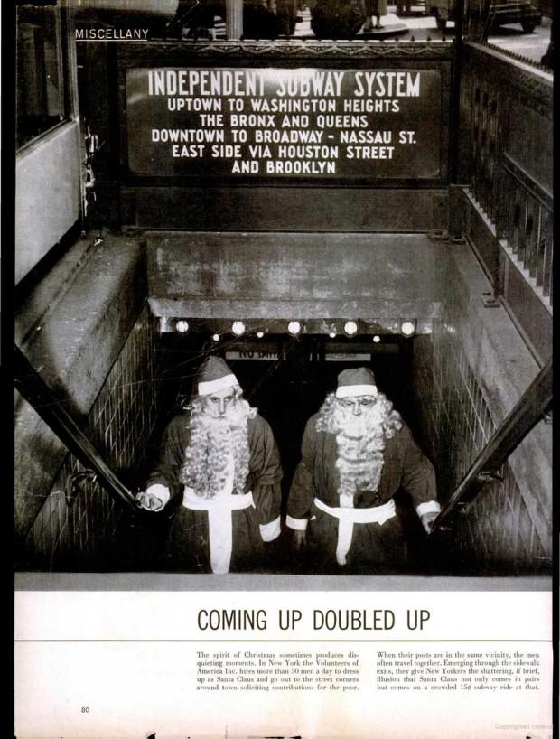 """""""Santas in the Subway"""", Weegee, 1954"""