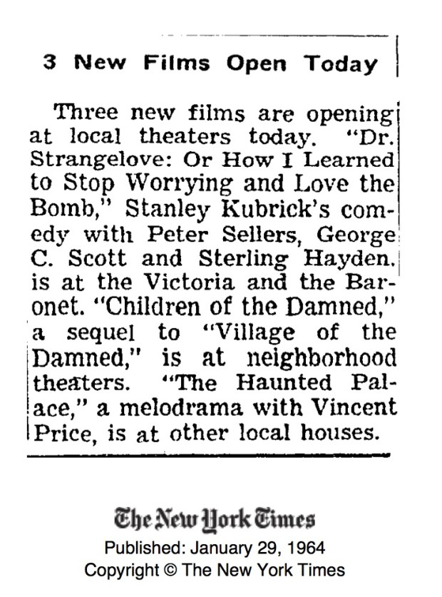 """The New York Times: """"3 New Films Open Today"""", January 29 1964."""