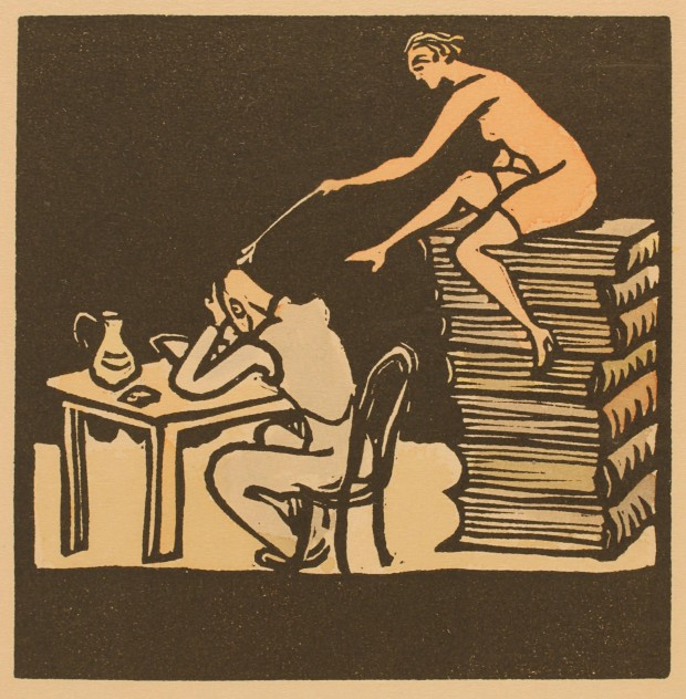 Bookplate, woodcut by Miro Parizek, Czechoslovakia, 1937, 91mm x 90mm, owner unknown. From the collection of Frederikshavn Digital Exlibris Museum Project.