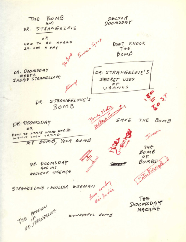 """""""Early brainstorming on titles and subtitles for Dr. Strangelove"""" (A)"""