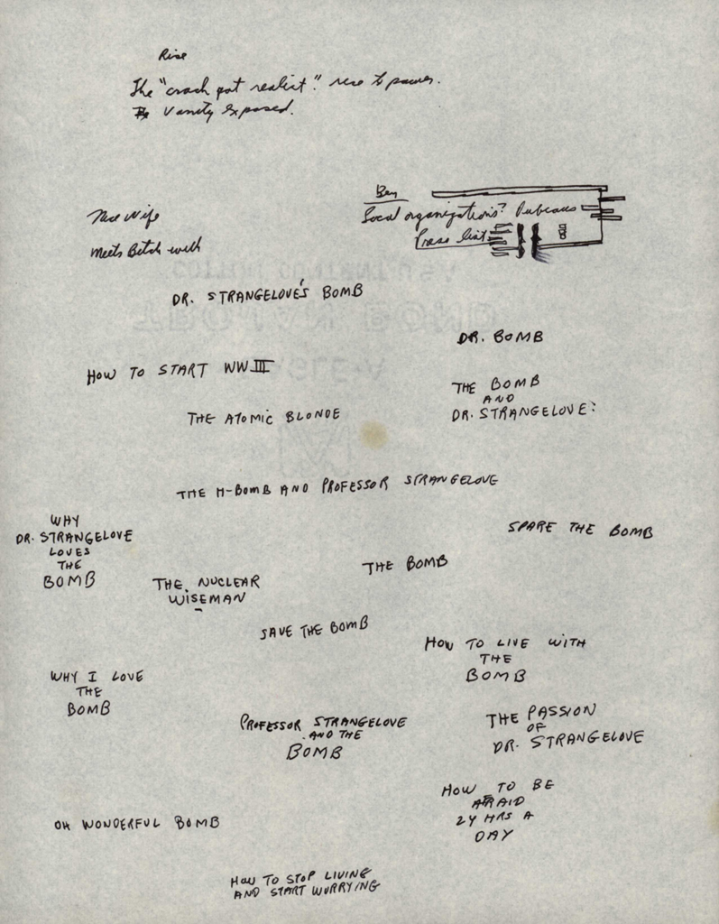 kubrick s brainstorming notes for dr strangelove early brainstorming on titles and subtitles for dr strangelove b