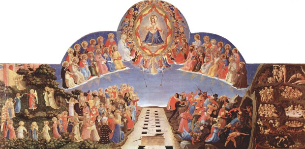 'The Last Judgment' (complete painting) by Fra Angelico, tempera on panel, 1425–1430, San Marco, Florence. Large format retrieved from Wikimedia Commons. Public domain.