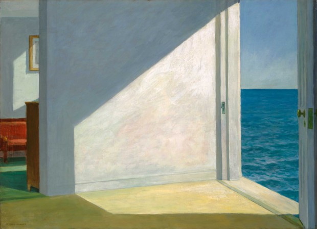 """Rooms by the Sea"" by Edward Hopper, 1951, oil on canvas, 74.3 x 101.6 cm (29 1/4 x 40 in.). Bequest of Stephen Carlton Clark, B.A. 1903. Image retrieved from Yale University Art Gallery."