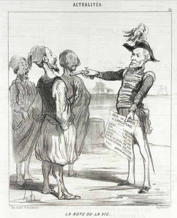 """""""La Note ou la Vie"""" by Honoré Daumier (1808-1879), published in Le Charivari, February 15, 1850"""