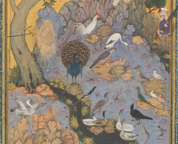 'The Conference of the Birds', opaque watercolor, ink, silver, gold on paper; 10 x 4 1/2 in. Metropolitan Museum of Art access. no. 63.210.11