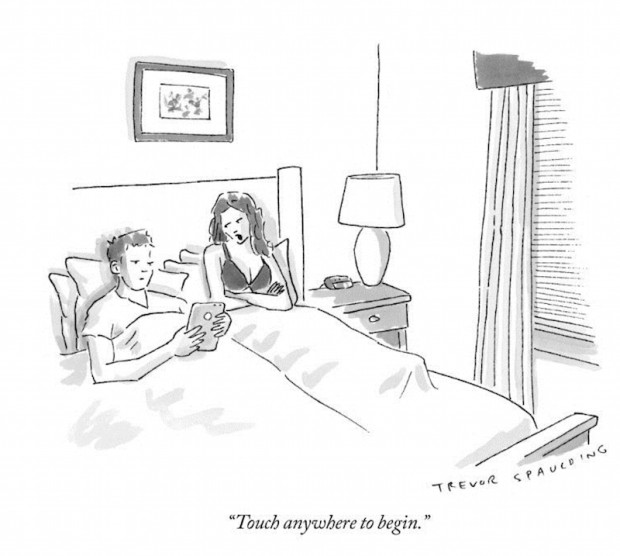 """Touch anywhere to begin."" by Tom Spaulding, The New Yorker, April 27, 2015, p. 36. © Condé Nast."