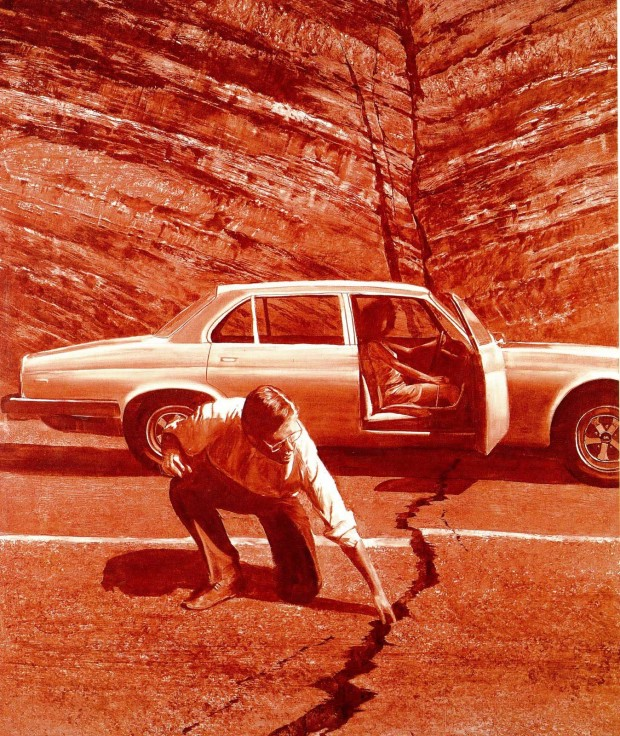"""Doubting Thomas"" by Mark Tansey, 1986. Reproduced in Mark Tansey: visions and revisions, by Arthur C. Danto, New York: Harry N Abrams, 1992, p. 75. Large format retrieved from Being Akin."