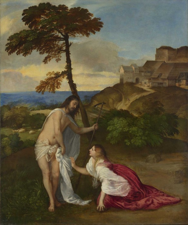 """Noli me Tangere"", Titian, circa 1514, oil on canvas, 110.5 x 91.9 cm, Bequeathed by Samuel Rogers, 1856. Retrieved from The National Gallery: inventory no. NG270."