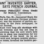 """The Pittsburgh Press: """"Kant Invented Garter, Says French Journal"""", Dec. 29, 1927, p. 7."""