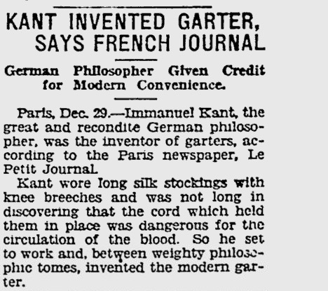 "The Pittsburgh Press: ""Kant Invented Garter, Says French Journal"", Dec. 29, 1927, p. 7."