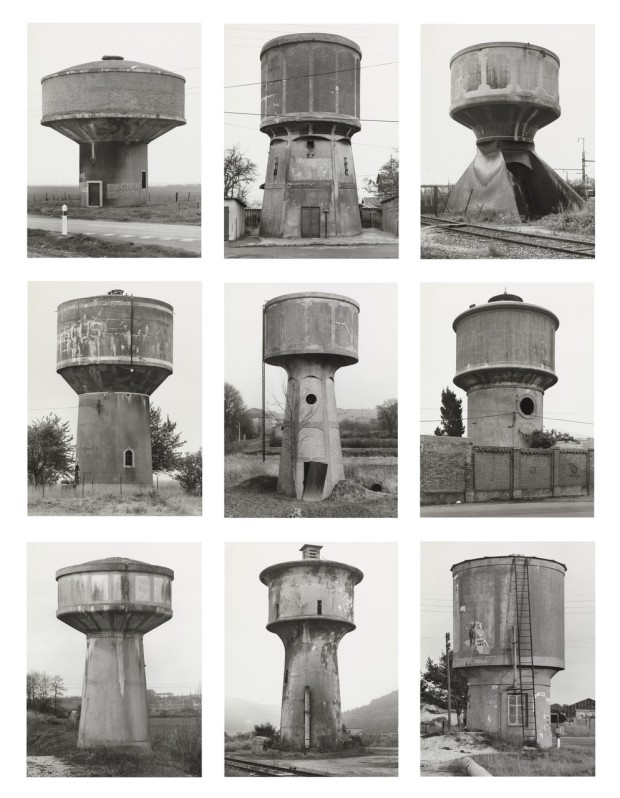 "Water Towers by Bernd and Hilla Becher, gelatin silver prints, 67 11/16 x 55 1/8"" (172 x 140cm). Retrieved from MoMA. Gift of Werner and Elaine Dannheisser."