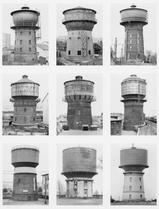Water Towers by Bernd and Hilla Becher, 2005. Retrieved from The New York Times.