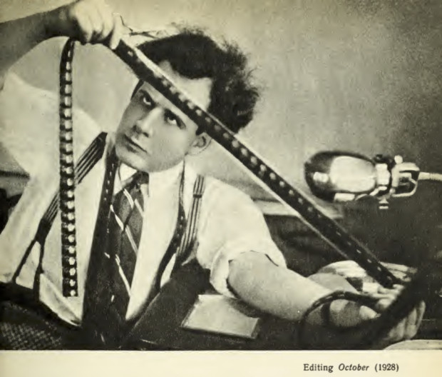 Sergei Eisenstein editing his film 'October' in 1928. Photo reproduced in Eisenstein's book 'Notes of a film director' (1959, p. 81).