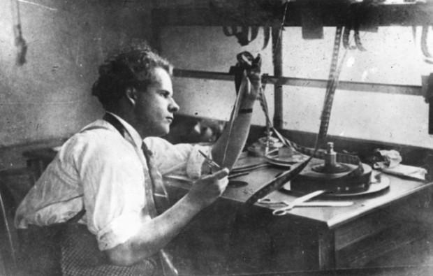 Sergei Eisenstein editing. Image retrieved from the BFI website.