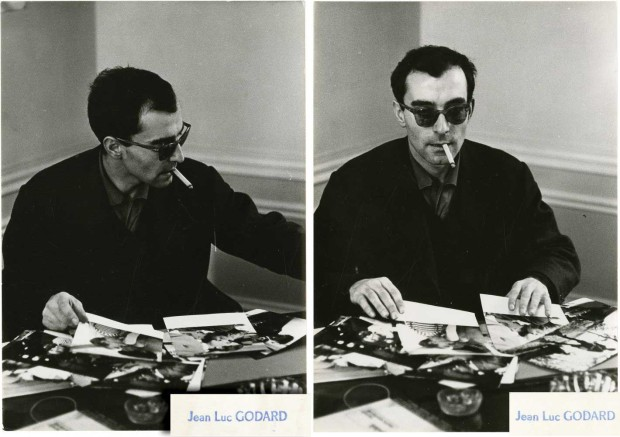 Jean-Luc Godard looking at stills from his film Breathless. Photo attributed to Philippe R. Doumic. Retrieved from Royal Books.