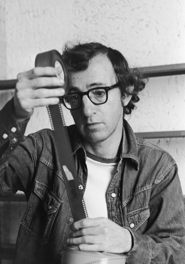 """Woody Allen Checks Film"" by Bernard Gotfryd, 1975. Licensed by Getty Images (editorial no. 71483703). Image retrieved from the Irish Film Institute website."