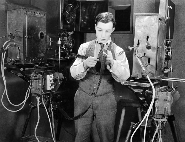 Production still for Sherlock Jr. directed by Buster Keaton, 1924. Image retrieved from Dr. Marco's High Quality Movie Scans.