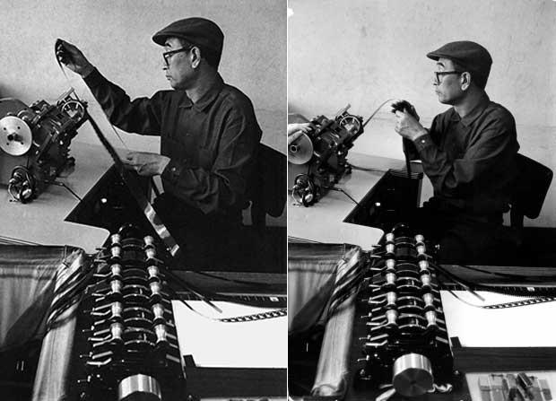Two portraits of Akira Kurosawa editing a film.