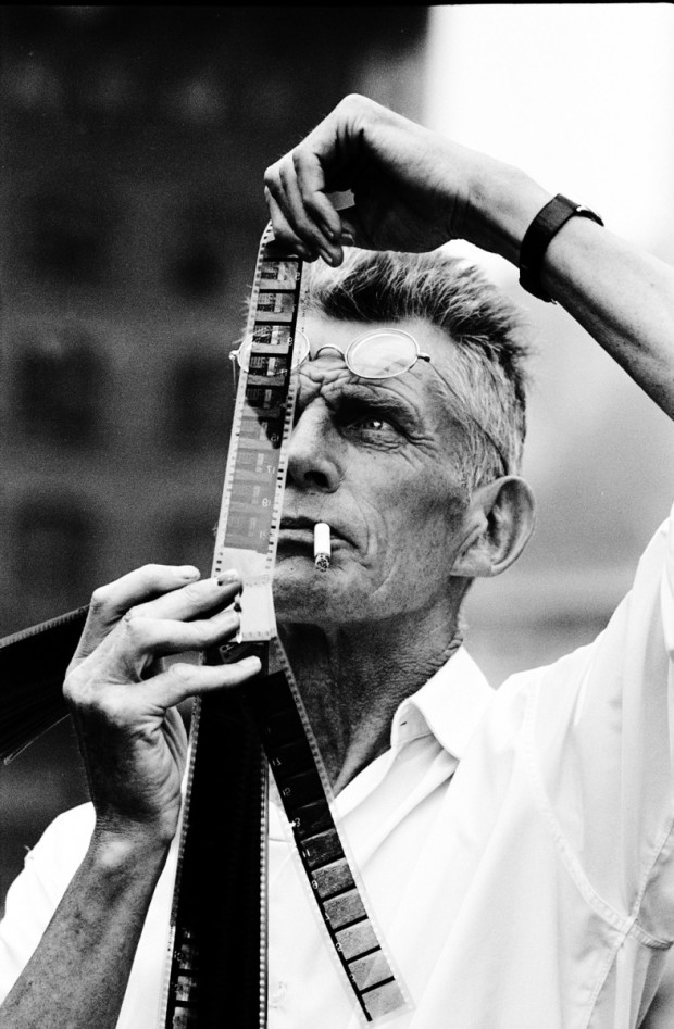 "Beckett on the set of his movie ""Film,"" 1964. Photograph by Steve Schapiro. Retrieved from The New Yorker."