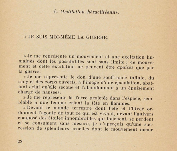 "Image of Bataille's ""Heraclitean Meditation"" from Acéphale no. 5, 1939"