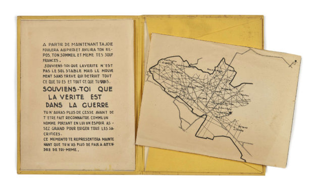 Large format, color photo-reproduction of Bataille's Memento (in French)